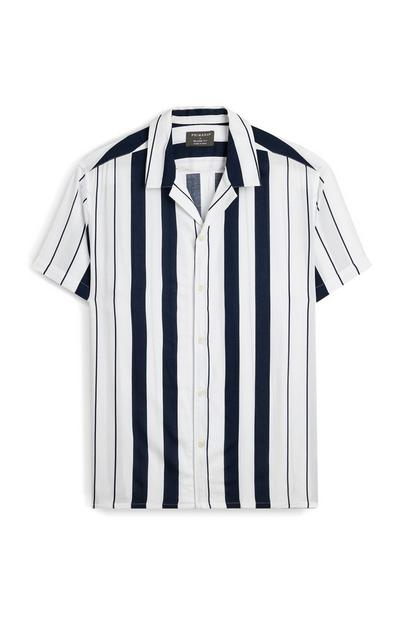White And Navy Striped Short Sleeve Shirt