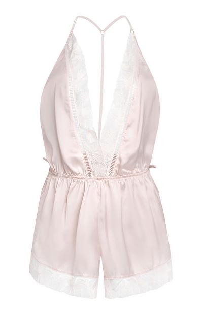 Floaty Satin Playsuit in Blush