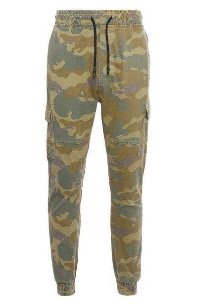 Pantaloni cargo kaki con bordo elasticizzato