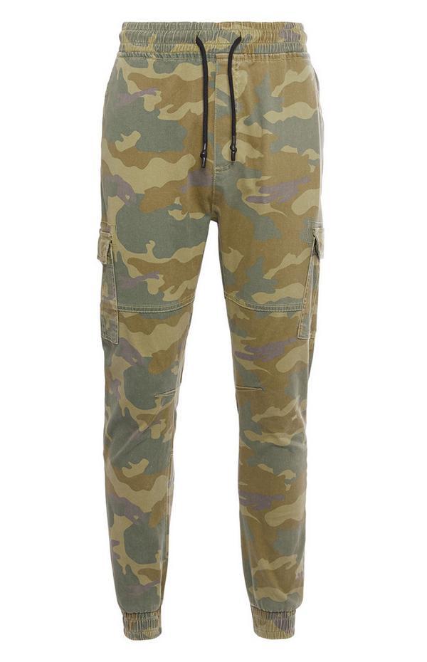 Pantalón cargo con bajos elásticos color caqui
