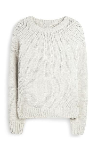 Slonokoščeno bel pulover iz šenilje