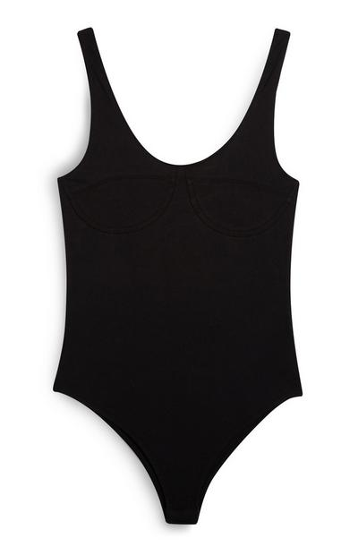 Black Scoop Neck Bodysuit