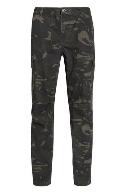 Kaki broek met camouflageprint