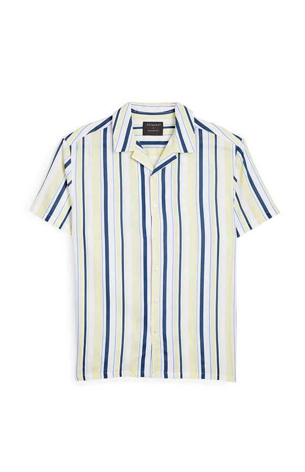 Yellow And Blue Striped Short Sleeve Shirt