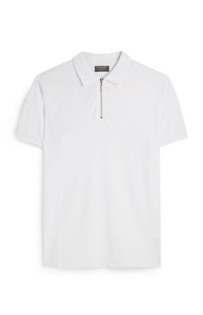 White Zip Up Jersey Polo Shirt