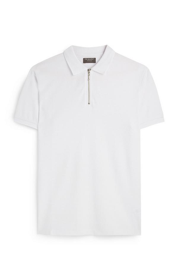 Wit jersey poloshirt met korte rits