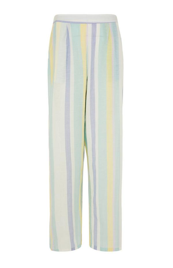Pastel Summer Striped Pajama Leggings