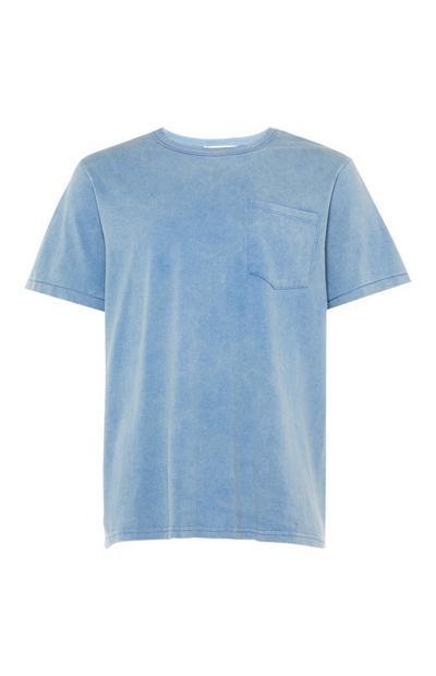 T-shirt bleu clair délavé style skater