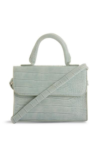 Blue Croc Print Small Handbag