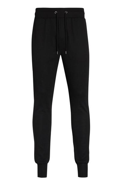 Black Ribbed Joggers