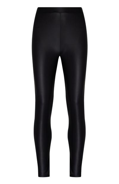 Leggings neri in pelle sintetica