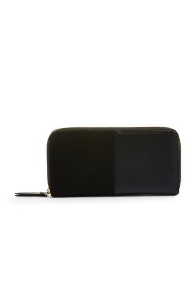 Black Suede Faux Leather Wallet
