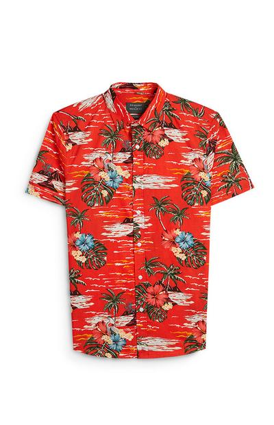 Red Hawaiian Print Short Sleeve Shirt