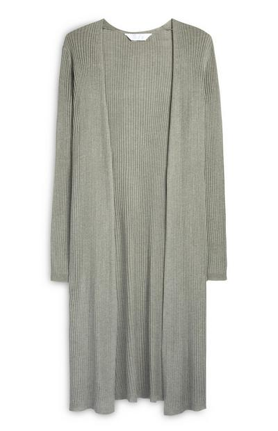 Long Khaki Ribbed Cardigan