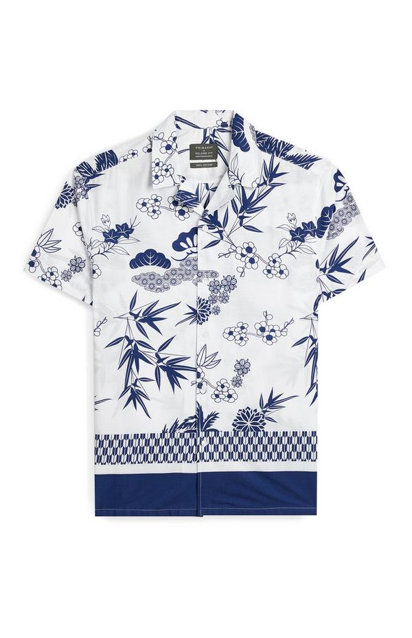 White And Navy Floral Short Sleeve Shirt