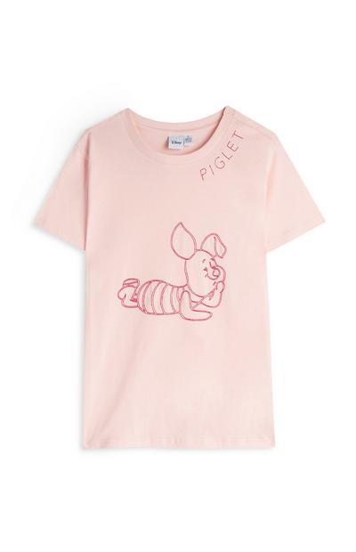 T-shirt rose à motif Porcinet surpiqué