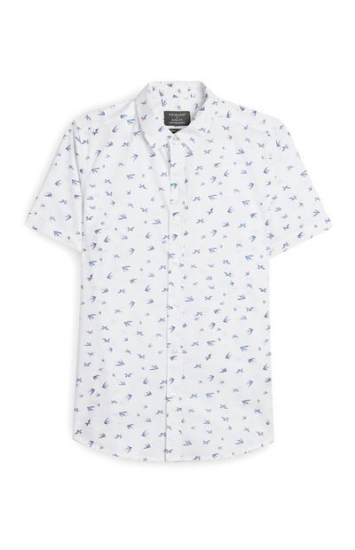 White And Blue Bird Print Short Sleeve Shirt