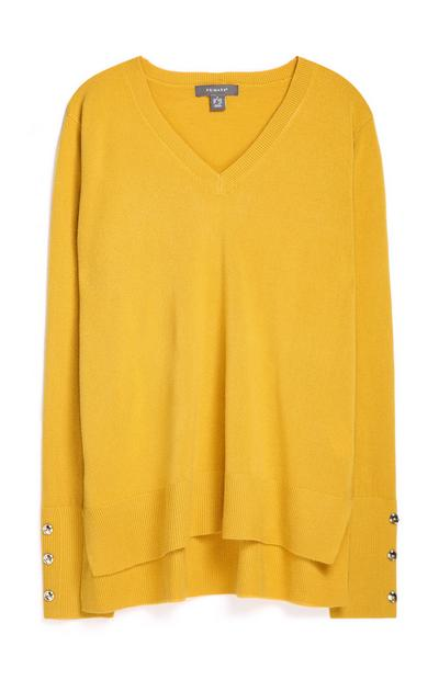 Yellow V-Neck Sweater With Button Sleeve Cuff