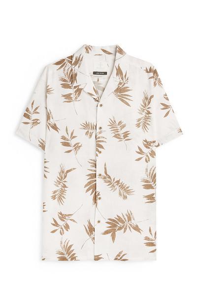 Lanena srajca s potiskom listov