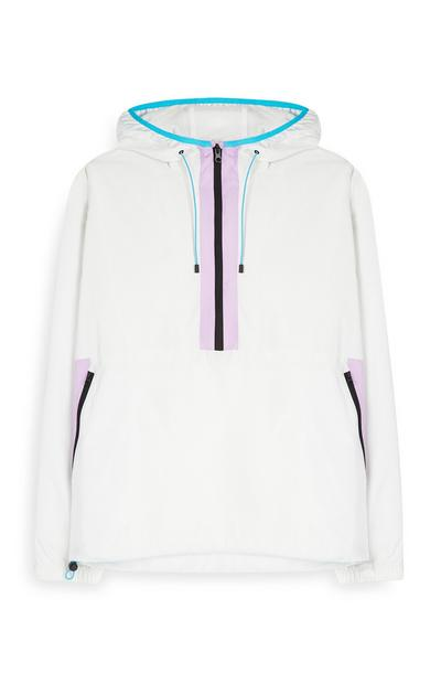 White Color Trim Windbreaker