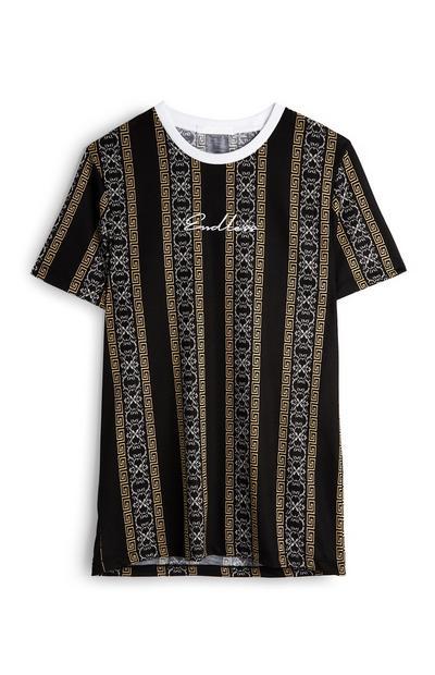 T-shirt padrão barroco preto/dourado