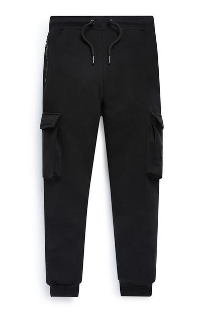 Pantalón de chándal cargo negro con bolsillos para niño mayor