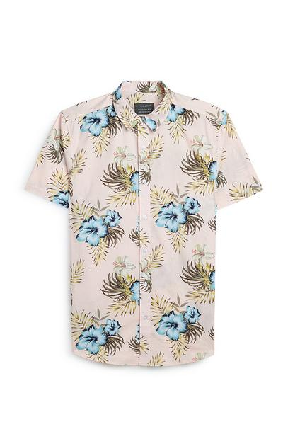 Pink And Blue Floral Short Sleeve Shirt