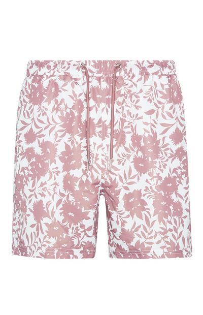 Pantalón corto con estampado floral rosa palo Kem Cetinay
