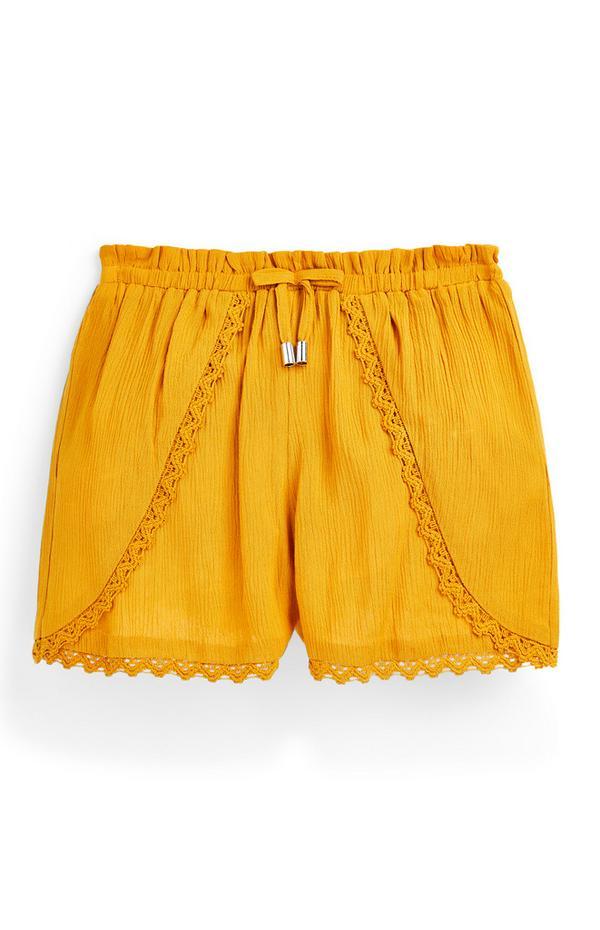 Gelbe Shorts mit Falten und Bindegürtel (Teeny Girls)