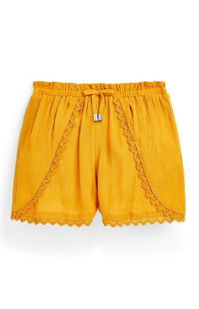 Rumene zmečkane kratke hlače z zatezno vrvico za starejša dekleta