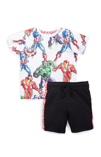 Conjunto t-shirt/calções Vingadores rapaz