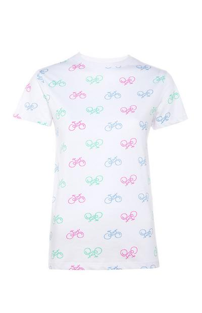 T-shirt bianca con stampa bicicletta