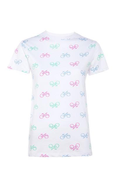 Camiseta blanca con estampado de bicicletas
