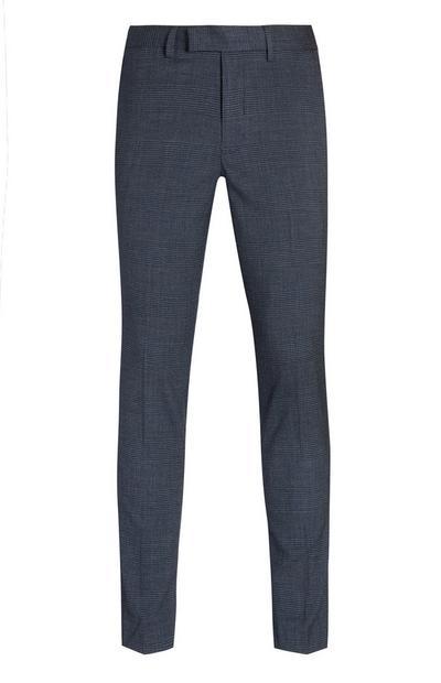 Pantalon bleu marine à carreaux