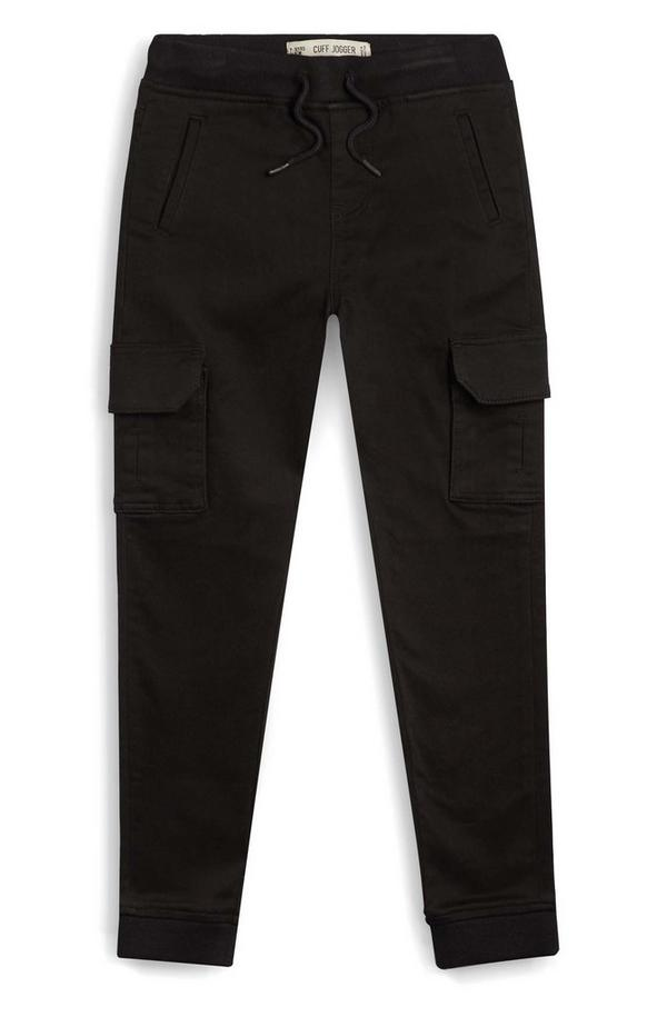 Older Boy Black Jersey Cargo Pants