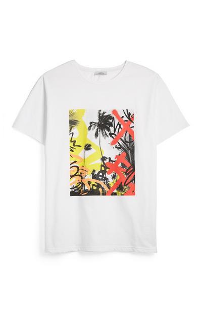 Wit T-shirt met graffiti
