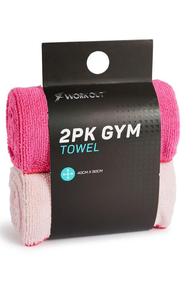 Pack 2 toalhas ginásio desporto cor-de-rosa