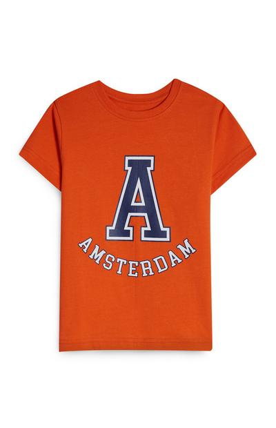 Oranžna majica s kratkimi rokavi Amsterdam Kings Day za dečke