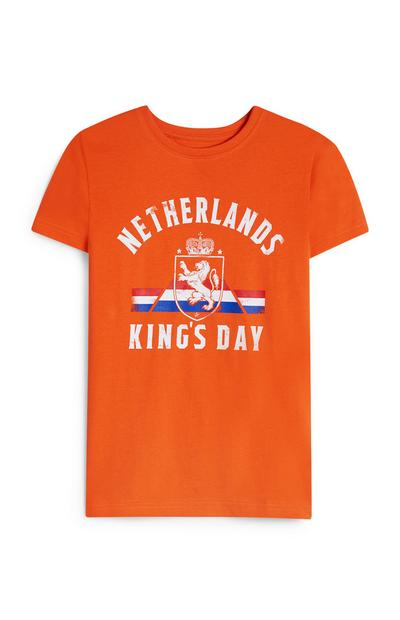 Oranje T-shirt King's Day voor jongens
