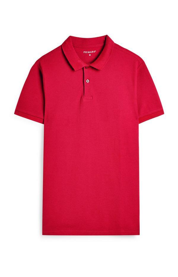 Felroze shirt met korte mouwen en polokraag