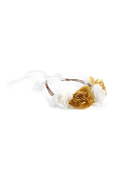 Gold And White Flower Crown Headband