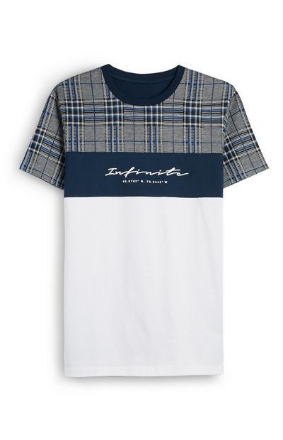 T-shirt xadrez preto e branco