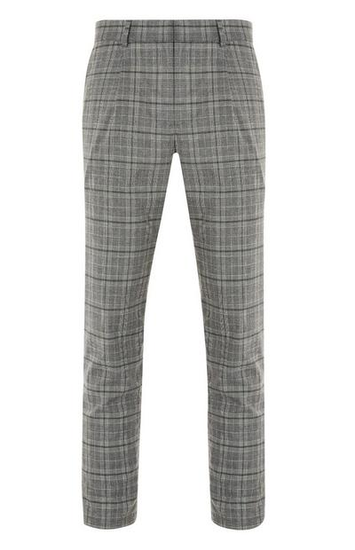 Grey Checked Slim Trousers