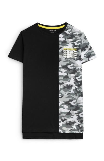 Older Boy Split Black And Camo T-Shirt