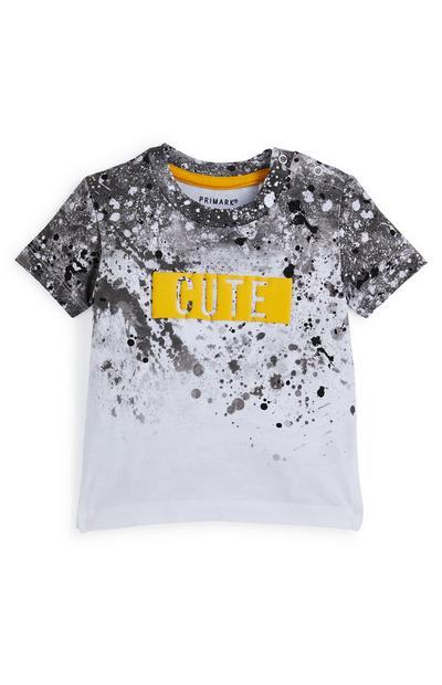 Grijs-wit baby-T-shirt Cute met verfspatten voor jongens