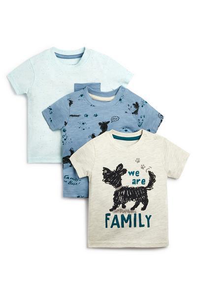 Blauw en witte baby-T-shirt met hond voor jongens, set van 3