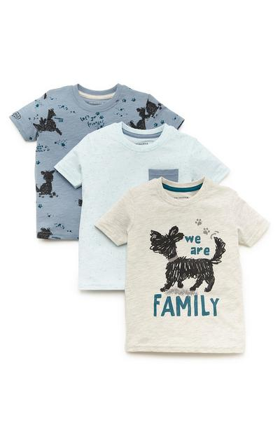 Baby Boy Blue And Cream Family Dog Print T-Shirt 3 Pack