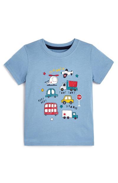 Blauw baby-T-shirt met voertuigen voor jongens