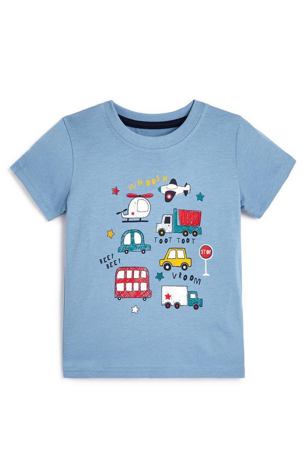 T-shirt blu con veicoli da bimbo