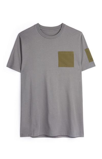 T-shirt utilitaire anthracite à poche kaki